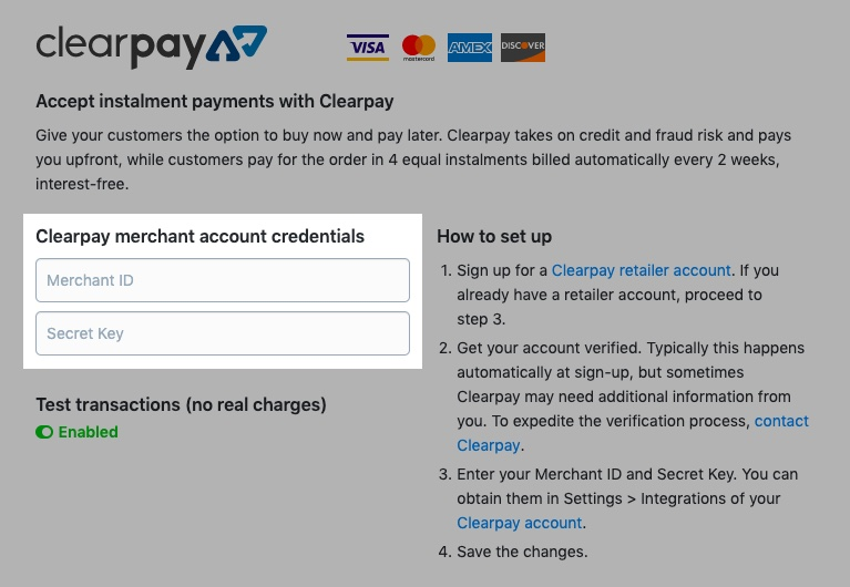 Clearpay merchant account credentials