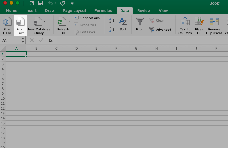 Import data from text in Excel