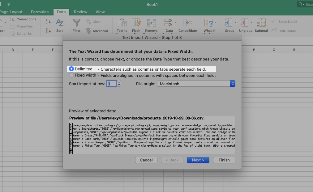 Choose Delimited in Excel Text Wizard