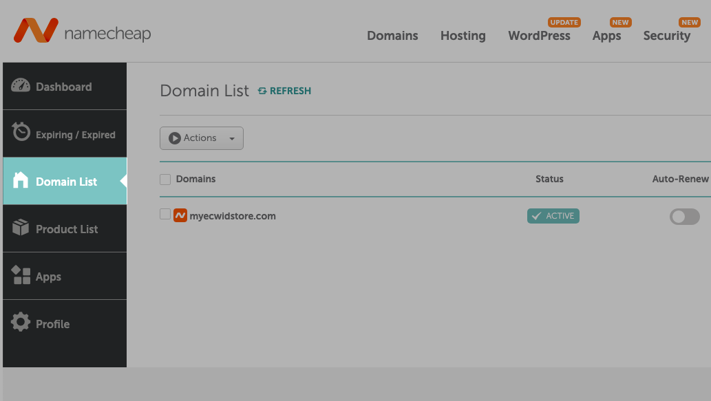 Navigate to Domain List in the NameCheap account