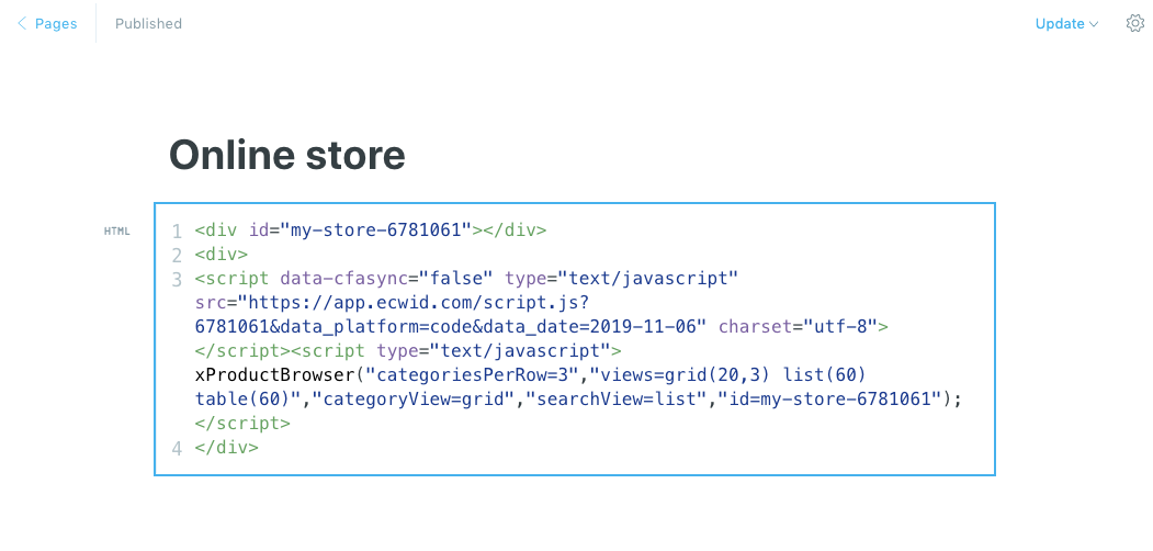 Add Ecwid store code to Ghost