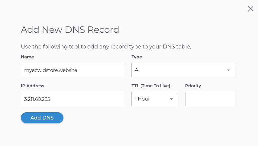 Create A-record in domain.com to set up domain for Ecwid