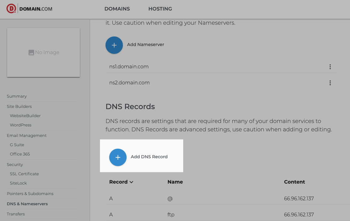 Add DNS Record in domain.com control panel for Ecwid