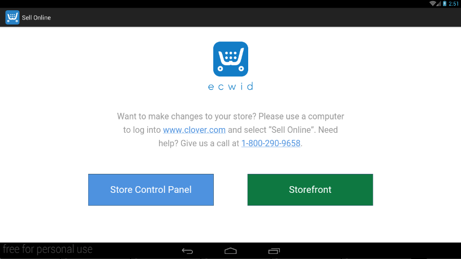 Sell Online app on Clover Station