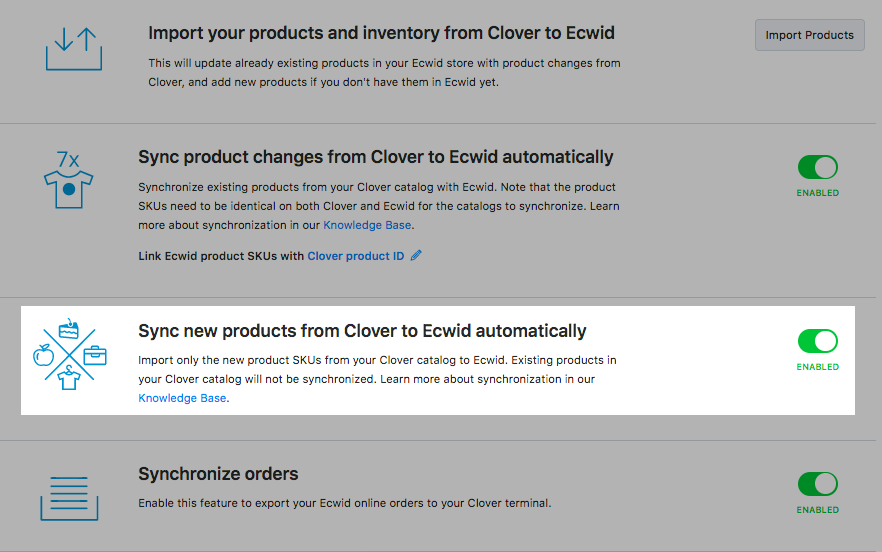 Sync new products from Clover