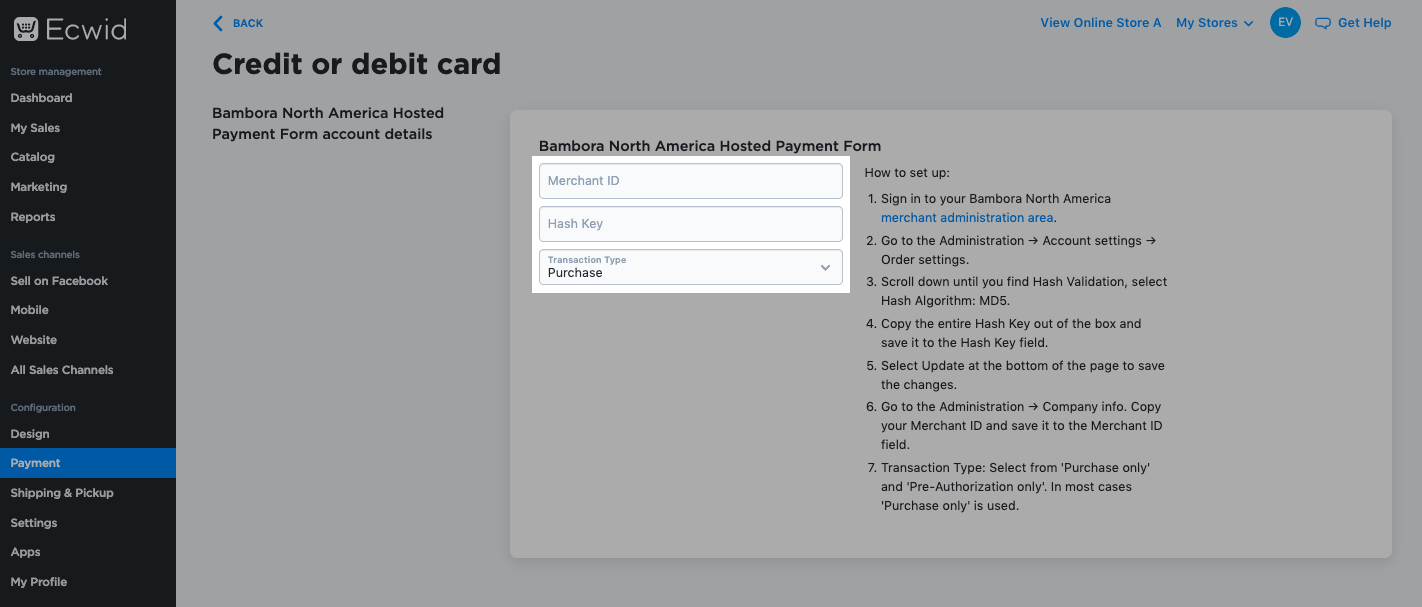 Bambora North America Hosted Payment Form Settings