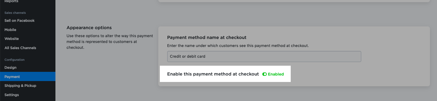 Enable payment method