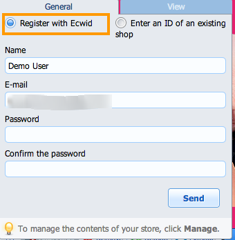 Choose Register with Ecwid